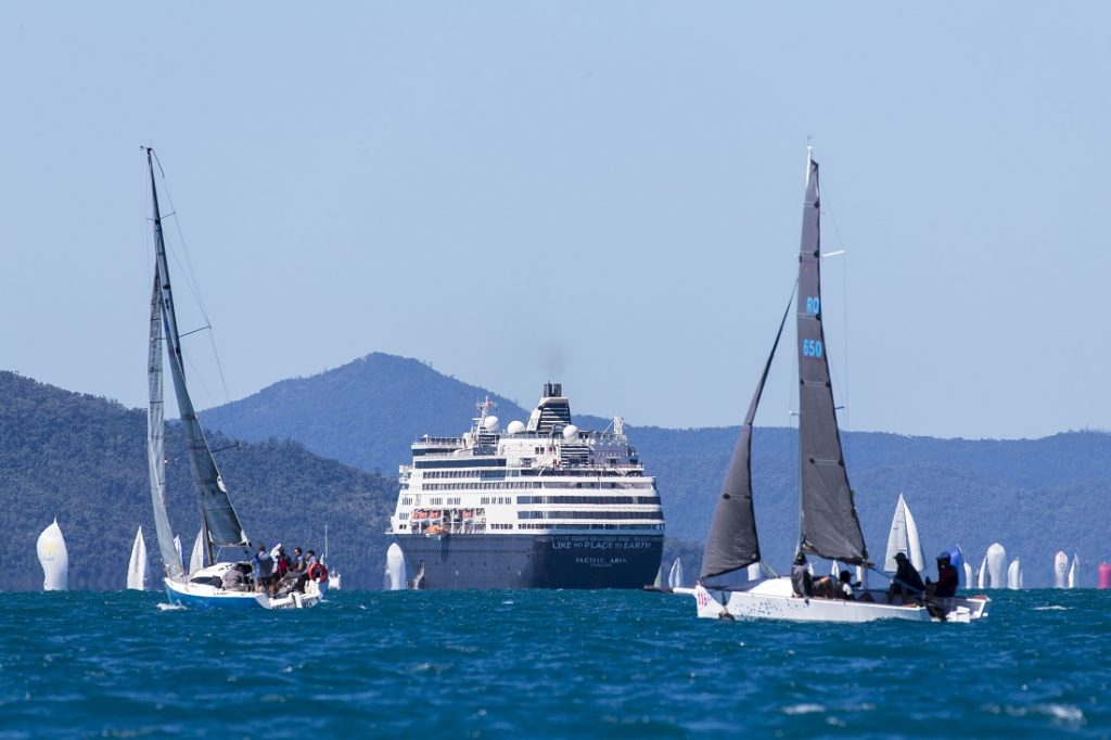 Passengers on the cruise ship Pacific Aria were treated to a ringside seat at Airlie Beach Race Week - Photo: Andrea Francolini